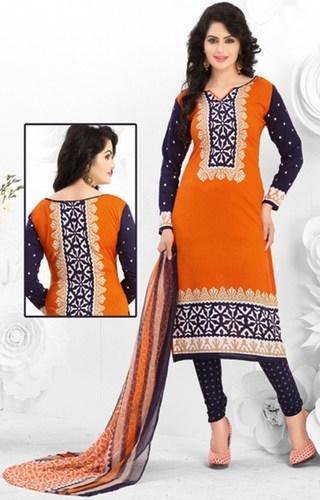 Orange Blue Synthetic Printed Vintage Salwar Suit