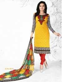 Yellow Red Synthetic Printed  Salwar Suit