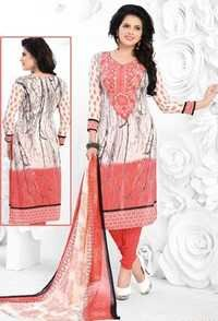 White Pink Synthetic Printed Light Weight Salwar Suit