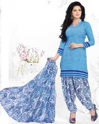 Blue Synthetic Printed Kareena Salwar Suit