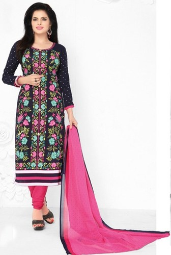 Black Pink Synthetic Printed Bollywood Salwar Suit