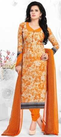 Orange Synthetic Printed Party Wear Salwar Suit