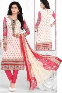 White Pink Synthetic Printed Daily Wear Salwar Suit