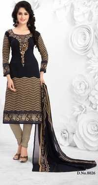 Black Synthetic Printed Exclusive Salwar Suit