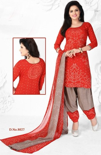 Red Synthetic Printed  Salwar Suit