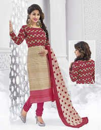 Red Beige Cotton Printed Ethnic Salwar Suit