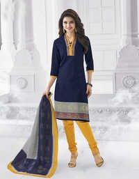 Blue Yellow Cotton Printed Traditional Salwar Suit