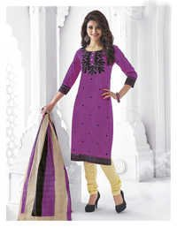 Purple Cotton Printed Salwar Suit