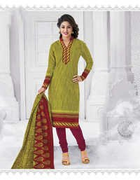 Green Cotton Printed Vintage Salwar Suit