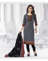 Grey Black Cotton Printed Light Weight Salwar Suit