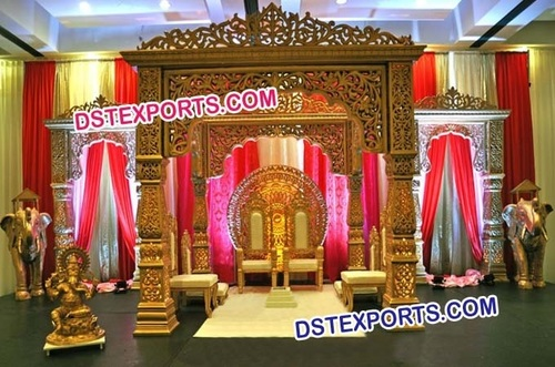 Wedding Golden Carved Bollywood Mandap