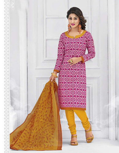 Pink Yellow Cotton Printed Light Weight Salwar Suit