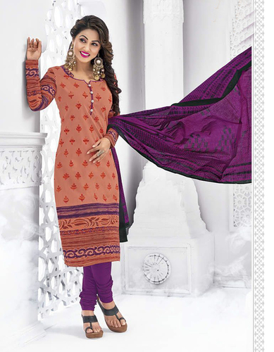 Orange Purple Cotton Printed Vintage Salwar Suit