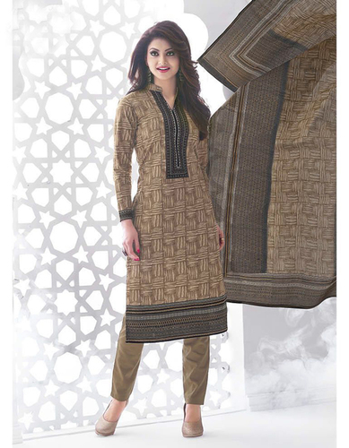 Beige Grey Cotton Printed Kareena Salwar Suit