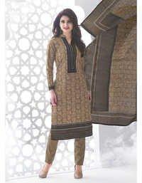 Beige Grey Cotton Printed Kareena Salwar Suit