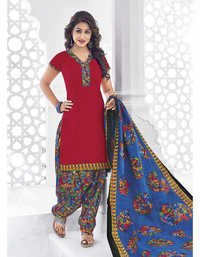 Red Blue Cotton Printed Bollywood Salwar Suit