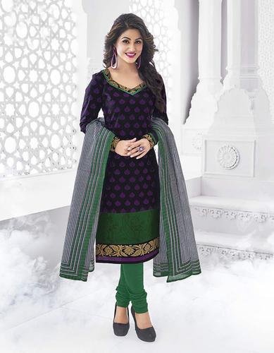 Purple Green Cotton Printed Party Wear Salwar Suit