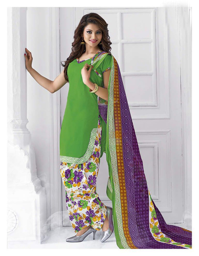 Green Cotton Printed Daily Wear Salwar Suit