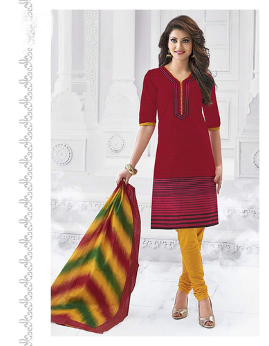 Red Yellow Cotton Printed Exclusive Salwar Suit