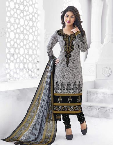 Grey Black Cotton Printed Salwar Suit