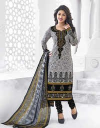 Grey Black Cotton Printed Salwar Suit