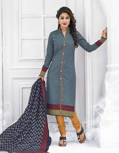 Blue Yellow Cotton Printed Punjabi Salwar Suit