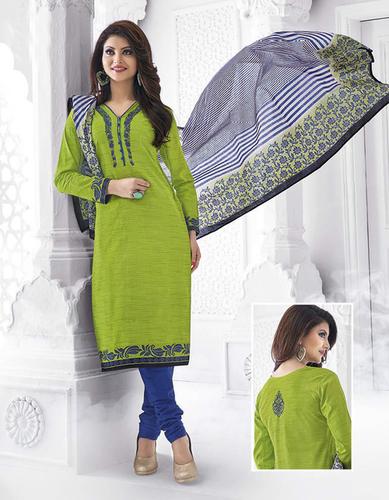 Green Cotton Printed Evening Wear Salwar Suit