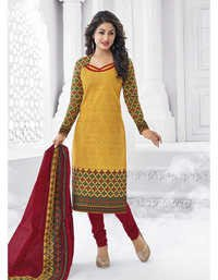 Yellow Red Cotton Printed EthnicSalwar Suit
