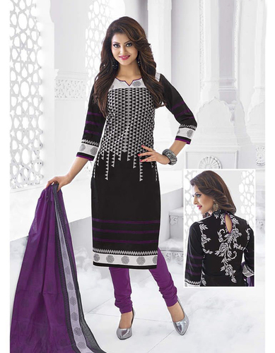 Black Purple Cotton Printed Traditional Salwar Suit