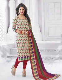 Beige Red Cotton Printed Vintage Salwar Suit