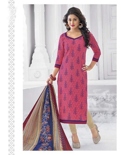 Pink Blue Cotton Printed Light Weight Salwar Suit