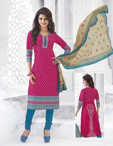 Pink Blue Cotton Printed Kareena Salwar Suit