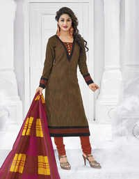 Brown Pink Cotton Printed Bollywood Salwar Suit