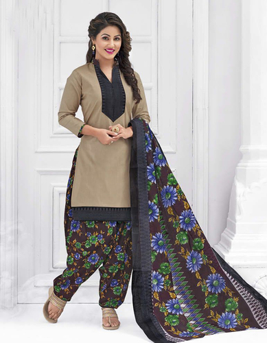 Beige Blue Cotton Printed Party Wear Salwar Suit