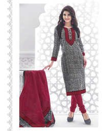 Grey Pink Cotton Printed Daily Wear Salwar Suit