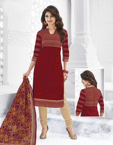 Red Cotton Printed Exclusive Salwar Suit