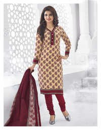 Beige Red Cotton Printed Punjabi Salwar Suit