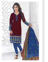 Red Blue Cotton Printed Evening Wear Salwar Suit