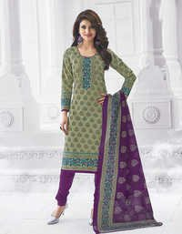 Green Purple Cotton Printed Salwar Suit