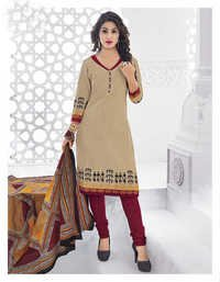 Beige Red Cotton Printed Office Wear Salwar Suit