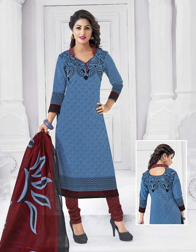 Blue Cotton Printed Ethnic Salwar Suit