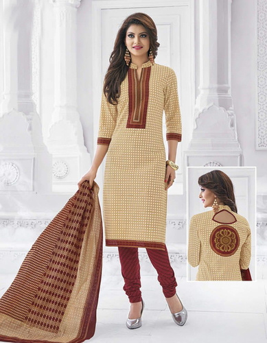 Beige Brown Cotton Printed Traditional Salwar Suit
