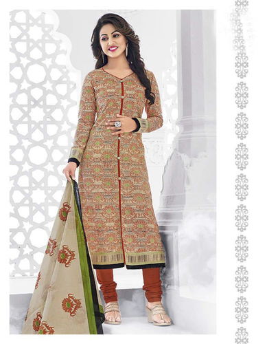 Beige Brown Cotton Printed Vintage Salwar Suit