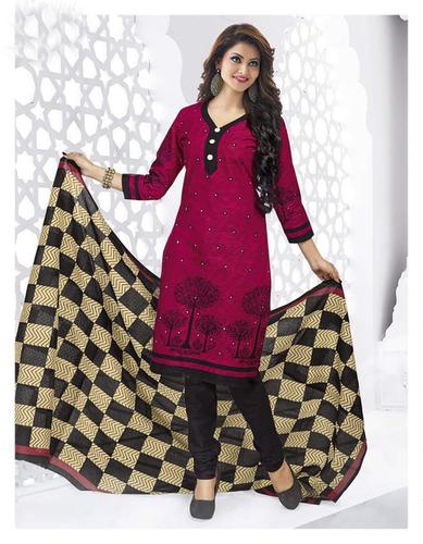 Pink Black Cotton Printed Light Weight Salwar Suit