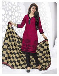 Pink Black Cotton Printed Light Weight Salwar Suit