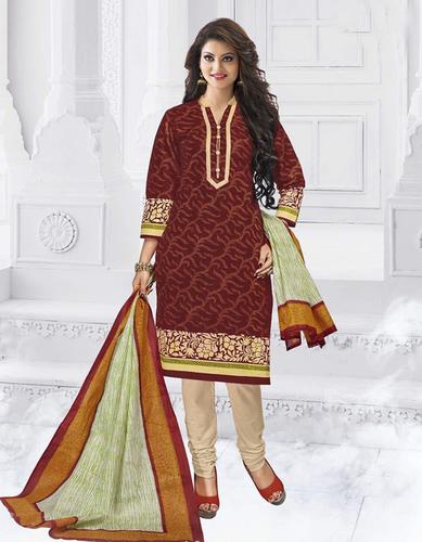 Maroon Cotton Printed Office Wear Salwar Suit