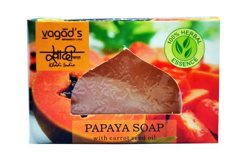 Vagad's Khadi Papaya glycerin  hand made organic soap .
