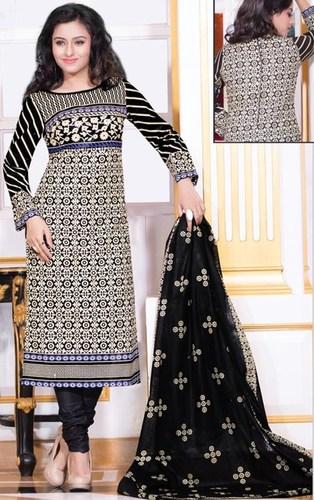 Beige Black Cotton Printed Office Wear Salwar Suit