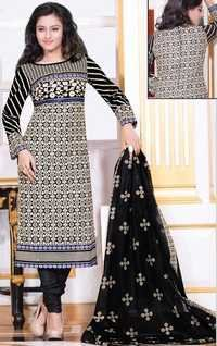 Beige Black Cotton Printed Office Wear Salwar Suit