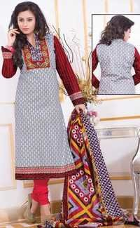 Grey Red Cotton Printed Traditional Salwar Suit